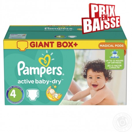 Giga pack 286 Couches Pampers Active Baby Dry taille 4 sur Promo Couches