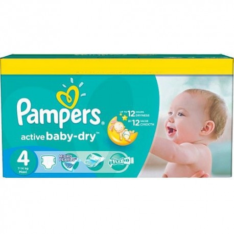 Maxi giga pack 312 Couches Pampers Active Baby Dry taille 4 sur Promo Couches