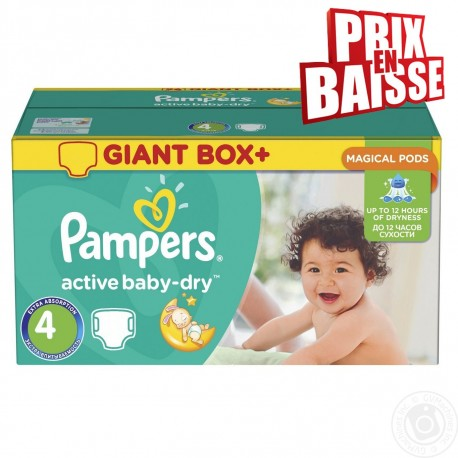 Maxi giga pack 338 Couches Pampers Active Baby Dry taille 4 sur Promo Couches
