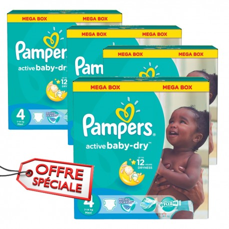 Maxi giga pack 390 Couches Pampers Active Baby Dry taille 4 sur Promo Couches