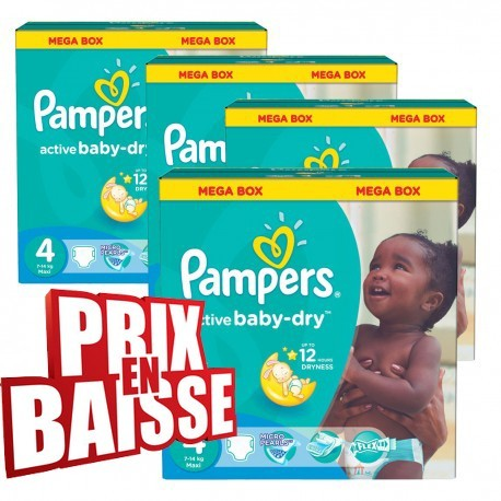 Maxi mega pack 494 Couches Pampers Active Baby Dry taille 4 sur Promo Couches