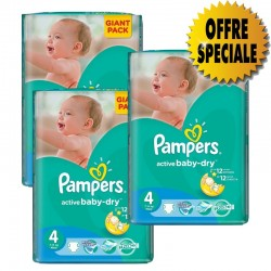 Pack jumeaux 546 Couches Pampers Active Baby Dry taille 4