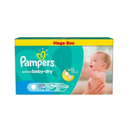 Pack jumeaux 559 Couches Pampers Active Baby Dry taille 4 sur Promo Couches