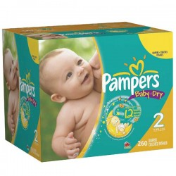 Pack jumeaux 528 Couches Pampers Baby Dry taille 2