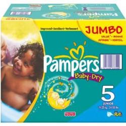Maxi Pack d'une quantité de 360 Couches Pampers de la gamme Baby Dry taille 5 sur Promo Couches