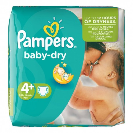 Pack 41 Couches de Pampers Baby Dry de taille 4+ sur Promo Couches
