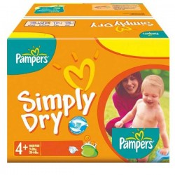 Pack 44 Couches Pampers Simply Dry taille 4+ sur Promo Couches