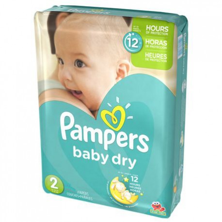 Pack 42 Couches de Pampers Baby Dry taille 2 sur Promo Couches