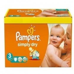 Pack de 56 Couches Pampers Simply Dry de taille 3