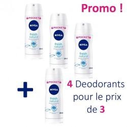 Pack de 4 Deodorants Nivea Fresh Natural - 4 au prix de 3 de taille Pocket sur Promo Couches