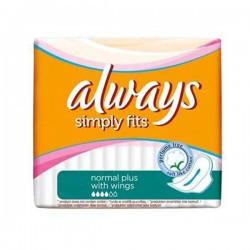 Pack économique 144 Serviettes hygiéniques de la marque Always Simply Fits de taille NormalPlus sur Promo Couches