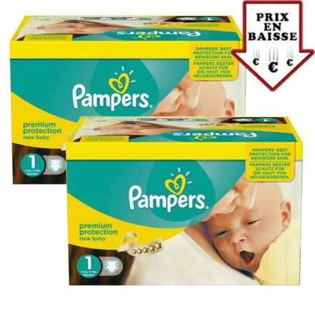 Pack jumeaux 504 Couches Pampers New Baby Premium Protection taille 1 sur Promo Couches