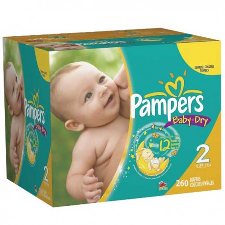 Pack jumeaux 528 Couches Pampers Baby Dry taille 2 sur Promo Couches
