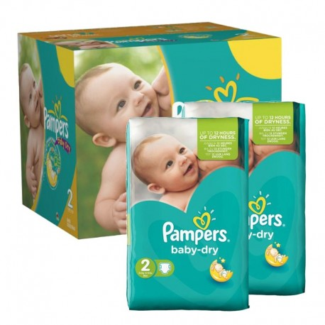 Pack jumeaux 561 Couches Pampers Baby Dry taille 2 sur Promo Couches