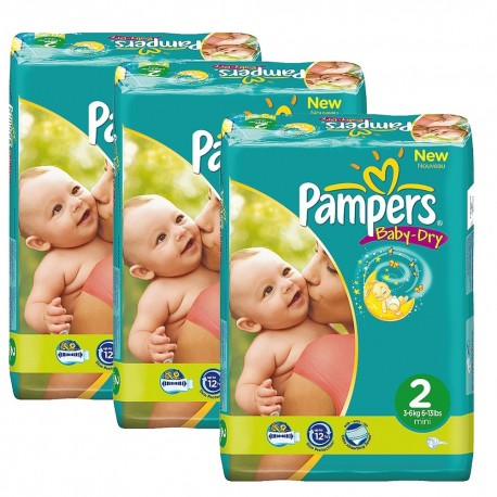 Pack jumeaux 825 Couches Pampers Baby Dry taille 2 sur Promo Couches