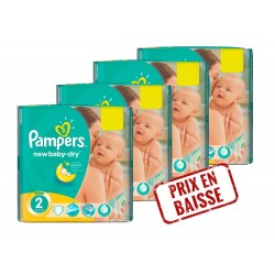 Pack jumeaux 528 Couches Pampers New Baby Dry taille 2 sur Promo Couches