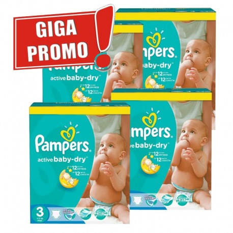 Pack jumeaux 748 Couches Pampers Active Baby Dry taille 3 sur Promo Couches