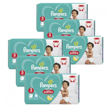 Pack jumeaux 520 Couches Pampers Baby Dry Pants taille 3 sur Promo Couches