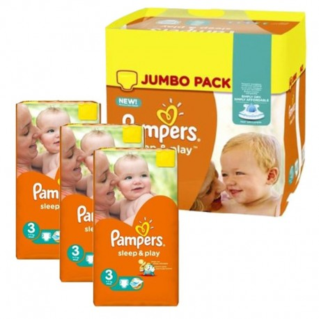 Pack jumeaux 574 Couches Pampers Sleep & Play taille 3 sur Promo Couches