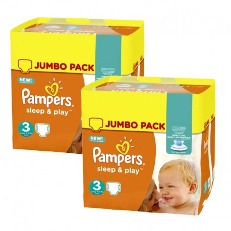 Pack jumeaux 820 Couches Pampers Sleep & Play taille 3 sur Promo Couches