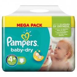 Pack 42 Couches Pampers Baby Dry taille 4+ sur Promo Couches