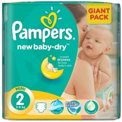 Pack de 80 Couches de Pampers New Baby Dry de taille 2