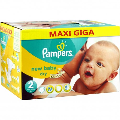 Giga Pack 504 Couches Pampers de la gamme New Baby Dry taille 2 sur Promo Couches