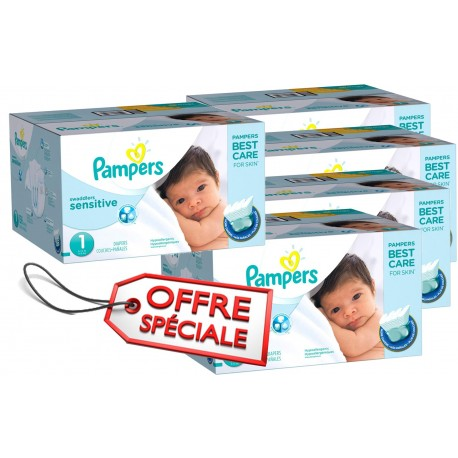 Maxi giga pack de 507 Couches de Pampers New Baby Sensitive de taille 1 sur Promo Couches
