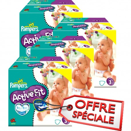 Maxi Giga Pack Jumeaux 615 Couches Pampers de la gamme Active Fit taille 3 sur Promo Couches