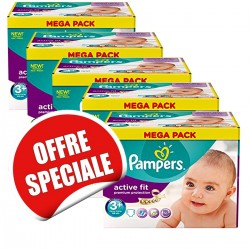 Maxi Giga Pack Jumeaux de 560 Couches Pampers Active Fit taille 3+