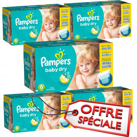 Maxi Giga Pack Jumeaux 627 Couches Pampers Baby Dry de taille 6 sur Promo Couches