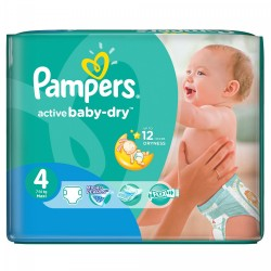 Pack économique 76 Couches Pampers Active Baby Dry de taille 4