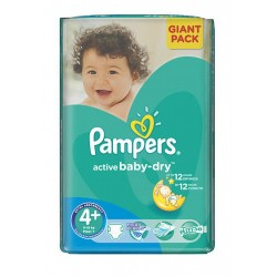 Paquet 32 Couches Pampers Active Baby Dry de taille 4+ sur Promo Couches