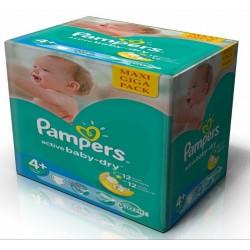 Maxi Giga Pack d'une quantité de 265 Couches Pampers Active Baby Dry de taille 4+ sur Promo Couches