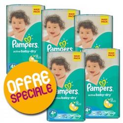 Paquet économique 371 Couches Pampers de la gamme Active Baby Dry taille 4+ sur Promo Couches