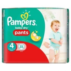 Pack 23 Couches Pampers Baby Dry Pants de taille 4 sur Promo Couches