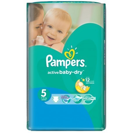 Pack 58 Couches Pampers Active Baby Dry taille 5 sur Promo Couches