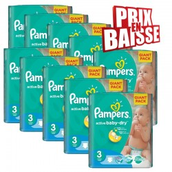 Giga pack 592 Couches Pampers Active Baby Dry taille 3 sur Promo Couches
