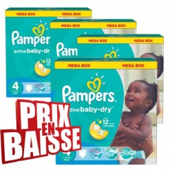 Giga pack 290 Couches Pampers Active Baby Dry de taille 4
