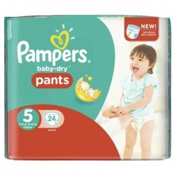 Pack 24 Couches Pampers Baby Dry Pants taille 5 sur Promo Couches
