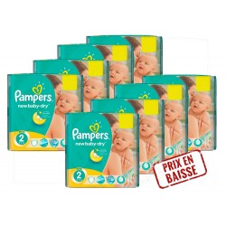 Pack économique 408 Couches Pampers New Baby Dry 2