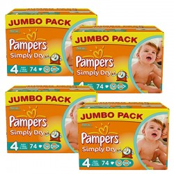 Maxi Mega pack 294 Couches Pampers Simply Dry 4 sur Promo Couches