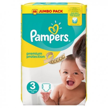 Pquet 50 Couches Pampers Premium Protection taille 3 sur Promo Couches