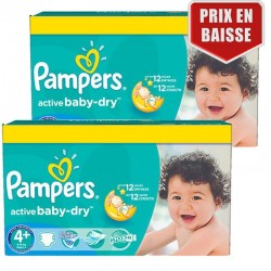 Maxi Giga Pack 162 Couches Pampers Active Baby Dry taille 4+ sur Promo Couches