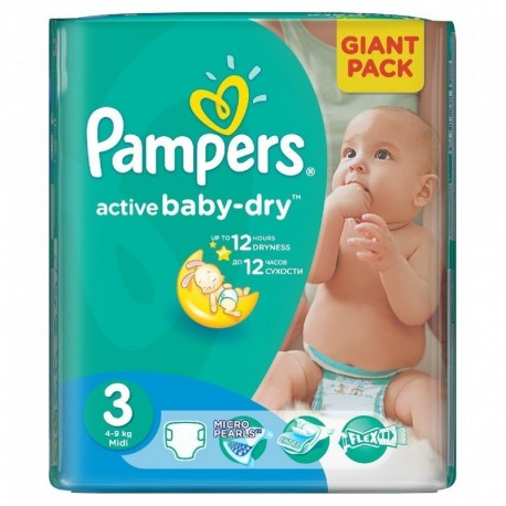 Paquet 82 Couches Pampers Active Baby Dry taille 3 sur Promo Couches