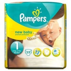 Pack 23 Couches Pampers New Baby taille 1 sur Promo Couches