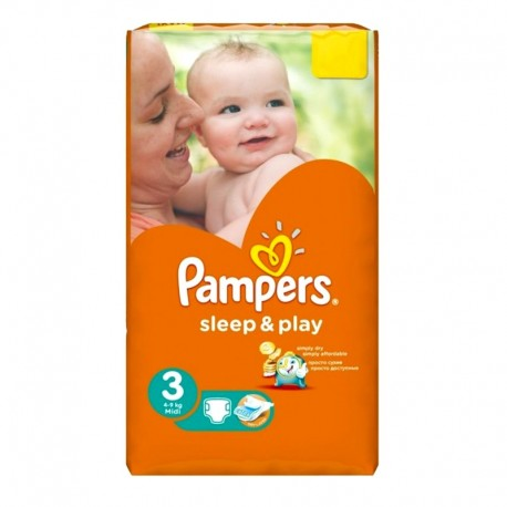 Pack 16 Couches Pampers Sleep & Play taille 3 sur Promo Couches
