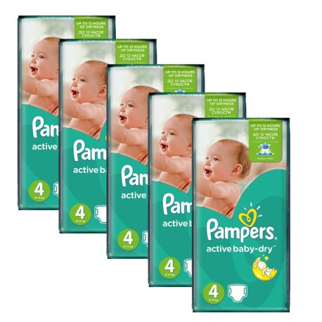 Maxi Giga pack 294 Couches Pampers Active Baby Dry taille 4 sur Promo Couches