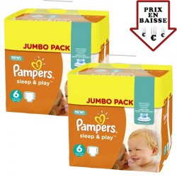 pack Jumeaux 348 Couches Pampers Sleep & Play taille 6
