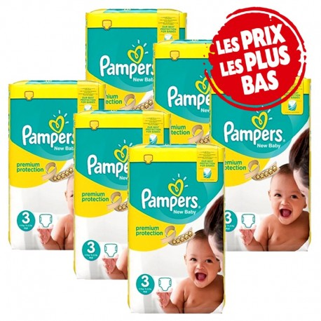 Maxi Giga Pack 348 Couches Pampers New Baby Premium Protection taille 3 sur Promo Couches